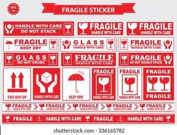 Fragile Sticker sign. easy to modify
