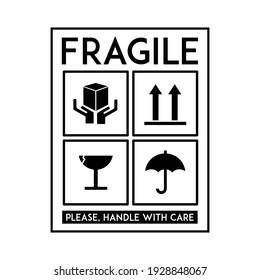 Fragile Sticker Vector. Printable Vector Illustration.