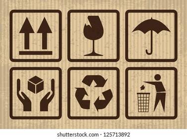fragile symbol on cardboard - illustration