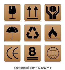 Fragile symbol set with brown cardboard texture design. Fragile symbol vector icon.