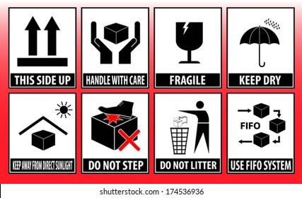 Fragile this side up max carton keep dry fifo system do not litter keep handling signs box red do not step
