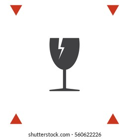 Fragile transport vector icon. Broken glass sign. Energy drink symbol