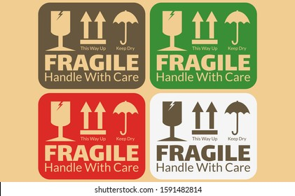 Fragile vector or handle with care icon can used for carton mark icon, box signs, shipping marks, package markings, stamp fragile and warning label icons. Fragile set contain keep dry and this way up.