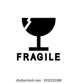 Fragile. Vector illustration of broken glass or glass and mirror symbol, isolated on a blank background that can be edited and changed color. Perfect for code on packaging.