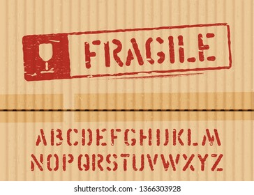Fragile vector stamp on cargo cardboard box background with font for logistics or packaging. Means: do not crush, handle with care. Grunge alphabet included. Vector illustration