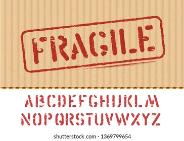 Fragile vector stamp on cargo textured cardboard box background with font for logistics or packaging. Means: do not crush, handle with care. Grunge alphabet included