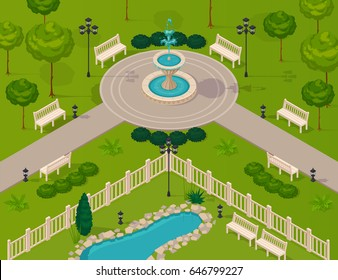 Fragment of city park landscape with walking path fountain trees and benches isometric vector illustration