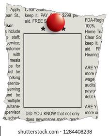 Fragment of classifieds newspaper with space for ad