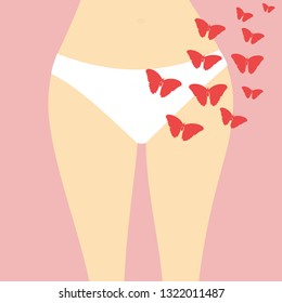 Fragment of female's body (waist, hips, legs) in underwear (white panties) and red flying butterflies (silhouettes). Abstract illustration of woman's period (menstruation) or menopause