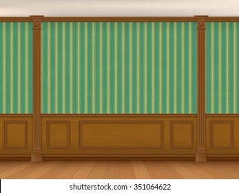 Fragment of the interior cabinet in a classic style. Wall with green striped wallpaper, wood paneling and pilasters.