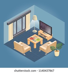 Fragment of the interior with detailed isometric furniture set. Cozy living room includes armchair with white upholstery and table, TV, lamp, flowerpot. Vector flat style 3d illustration.