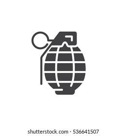 Fragmentation grenade icon vector, filled flat sign, solid pictogram isolated on white. Symbol, logo illustration