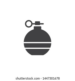 Fragmentation grenade vector icon. filled flat sign for mobile concept and web design. Military grenade glyph icon. Ammunition symbol, logo illustration. Vector graphics