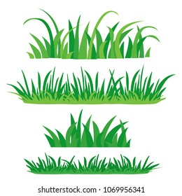 Fragments of green grass. Set of design elements of nature. Colored flat set, isolated on white background. Vector illustration.