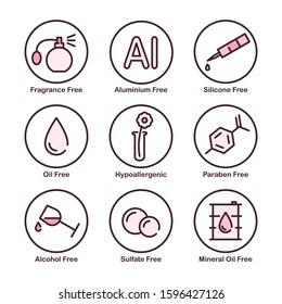 Fragrance, Aluminium, Silicone, Oil, Mineral Oil, Paraben, Alcohol, Sulfate Free. Hypoallergenic. Vector Icon Set.