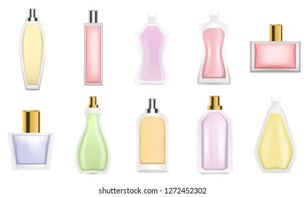 Fragrance bottles icon set. Realistic set of fragrance bottles vector icons for web design isolated on white background