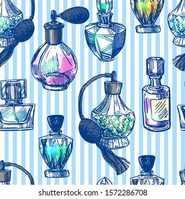 Fragrance bottles vector seamless pattern  illustration. Hand drawn sketch style image. Us for cosmetic sale.