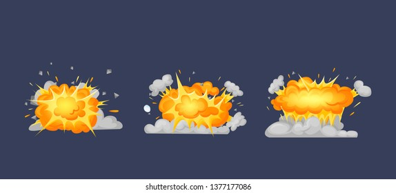 Frame animation with effect of burning, explosion, divided into separate scenes frames. Effect of explosion, burning flame, dispersion of particles with cloud of smoke. Vector illustration.