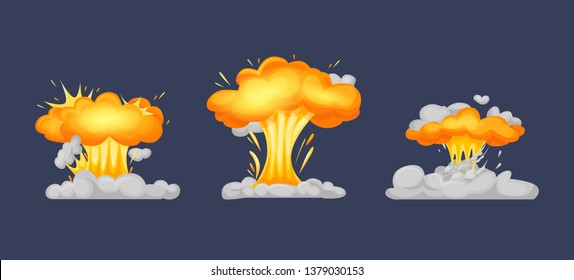 Frame animation with effect of burning, explosion, divided into separate scenes frames. Effect of smoke, burning and chemical fungus nuclear explosion with elements of the part, flame vector