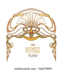 Frame in art nouveau style with space for text in traditional color. Vector illustration.