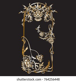Frame in art nouveau style with thistle. In black and gold colors. Vector illustration.
