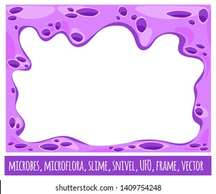 Frame background alien life. Landscape of galactic planet. Microflora and microbes in the body. Flat cartoon style. Vector isolated.