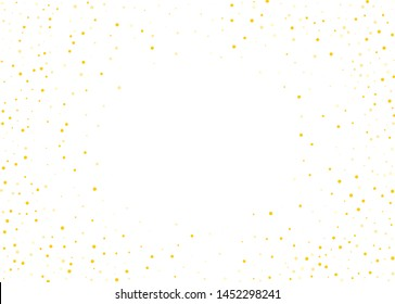 Frame, background with golden glitter, round confetti. Vector illustration. Festive background