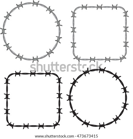 Frame Barbed Wire Set Stock Vector (Royalty Free) 473673415 ...