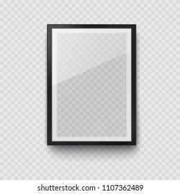 Frame with black mat surface mockup template isolated on transparent wall background. 3d realistic blank  museum picture or photograph frame. Vector glass photoframe for interior artwork design.
