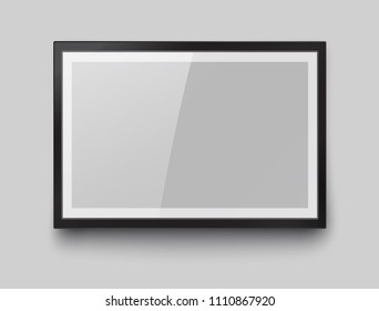 Frame with black mat surface mockup template isolated on gray wall background. 3d realistic blank  museum picture or photograph frame. Vector glass photoframe for interior artwork design.