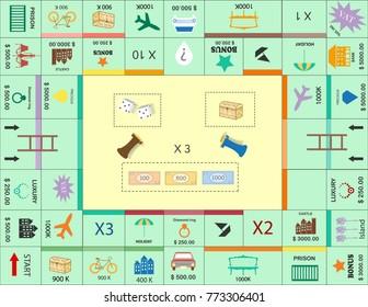 Frame of board game ,Funny frame,Board games,Vector illustrations