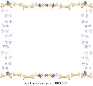 Frame of Bones, Paw Prints, Flowers and Hearts Vector