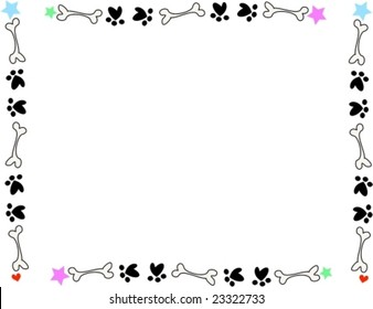 Frame of Bones, Paws, and Stars Vector