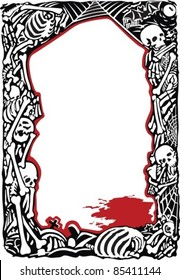 Frame with bones, skulls and pool of  blood