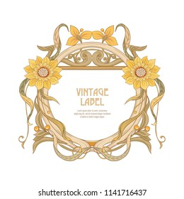 Frame, border in art nouveau style Isolated on white background. Label for products or cosmetics. Vintage, old, retro style. Stock vector illustration.
