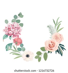 Frame border background. Floral wedding card with hortensia, rose, anemone and eucalyptus branch. Vector illustration
