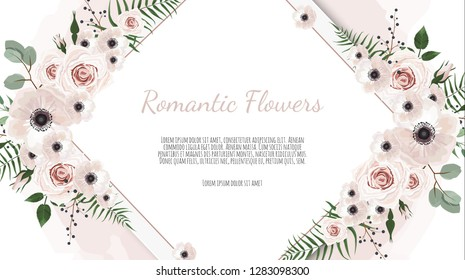 Frame border background. Floral wedding card with rose, anemone and eucalyptus branch.