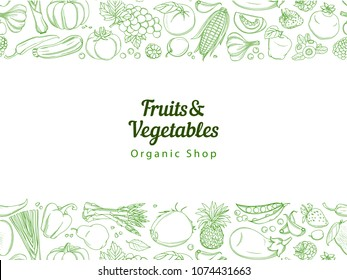 Frame border background pattern of green organic farm fresh tropical fruits and vegetables. Vector illustration. Sketch doodle outline line flat style design. White backdrop top view grocery products