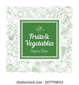 Frame border background pattern of green organic farm fresh tropical fruits and vegetables. Vector illustration. Sketch doodle outline line flat style design. White backdrop label grocery products