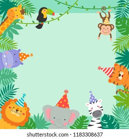 Frame border of cute jungle animals cartoon and tropical leaves for kids party invitation card template.