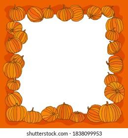 Frame, border decorated with orange pumpkins for greeting cards and other artworks. Vector illustration.