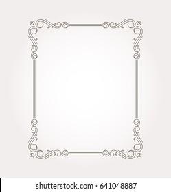 Frame border. Decorative design element and fancy page ornament. Vector illustration