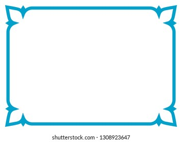 Frame border line page vector vintage simple horizontal blue