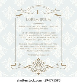 Frame, border, ornament and classic seamless pattern. Template for greeting cards, invitations, menus, labels. Graphic design page. Wedding invitation.Classic design elements.
