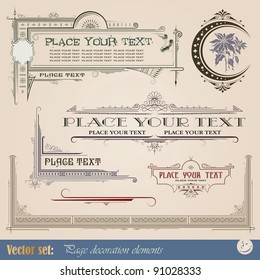 Frame, border, ornament and element in vintage style