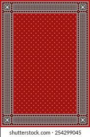 Frame & Border with Red Background in sindhi ajrak style, Vector illustration