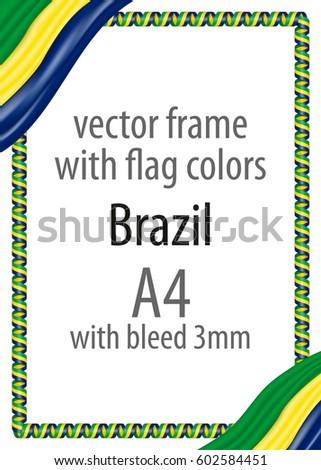 frame border ribbon colors brazil flag stock vector royalty free