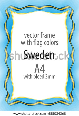 frame border ribbon colors sweden flag stock vector royalty free
