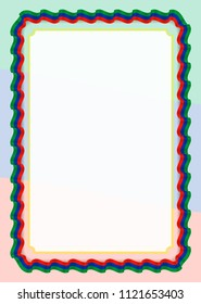Frame and border of ribbon with Dagestan flag, template elements for your certificate and diploma. Vector