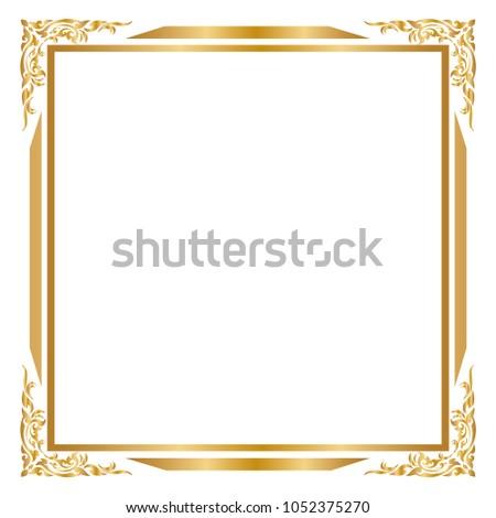 gold frame border square. Frame And Border, Square Frames, Golden Frame On White Background, Vector  Illustration Gold Border Square D
